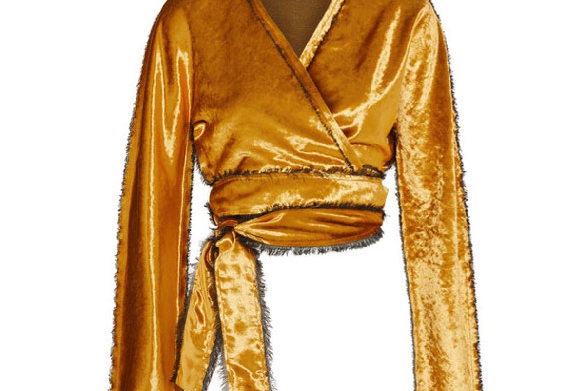 Cropped crushed-velvet wrap jacket