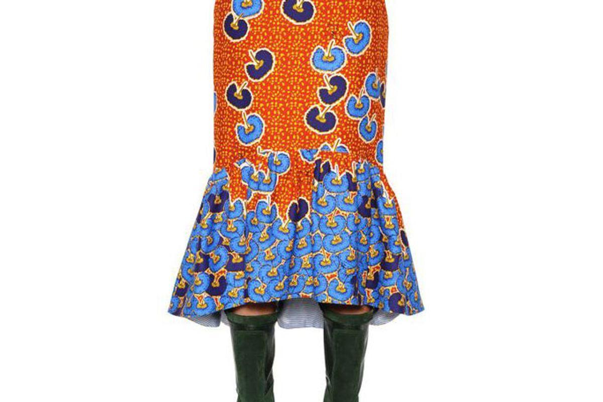 Women's Blue Ruffled Printed Cotton Twill Midi Skirt