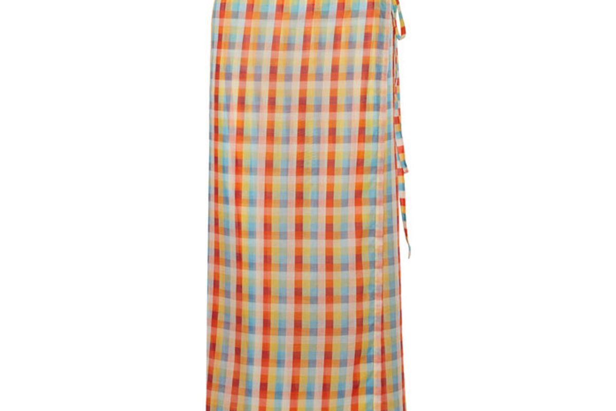Checked cotton-voile wrap skirt