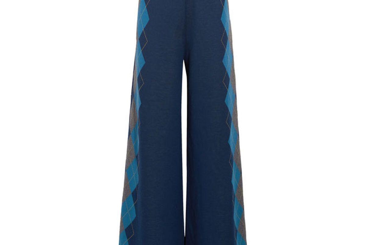 Argyle wool wide-leg pants