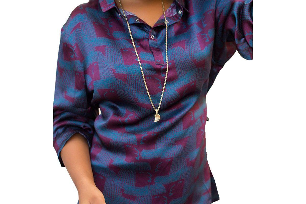 Satin Printed Collared Tunic