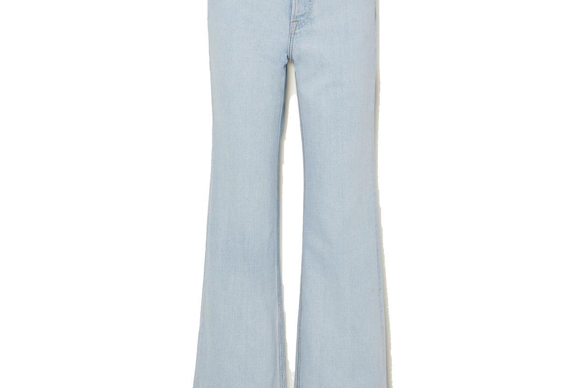 grlfrnd carla distressed high rise straight leg jeans