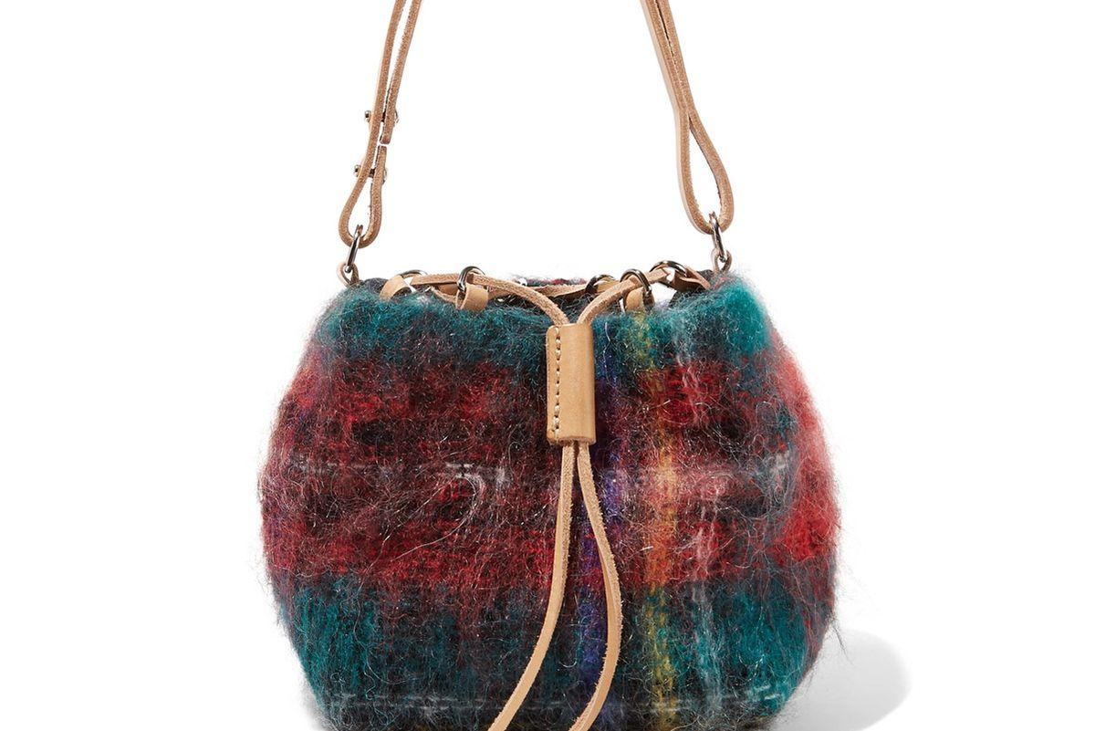 Fugu Leather-Trimmed Tartan Mohair-Blend Bucket Bag