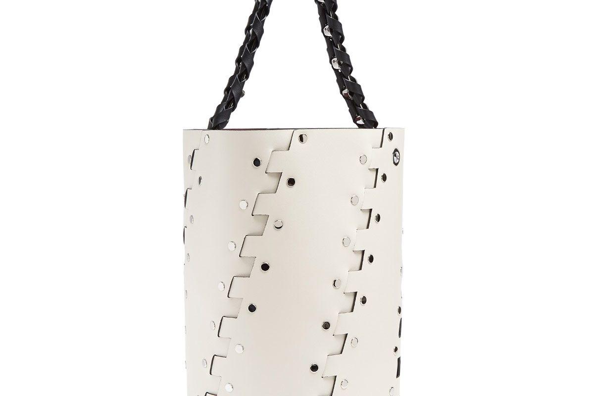 Hex Stud-Embellished Leather Bucket Bag