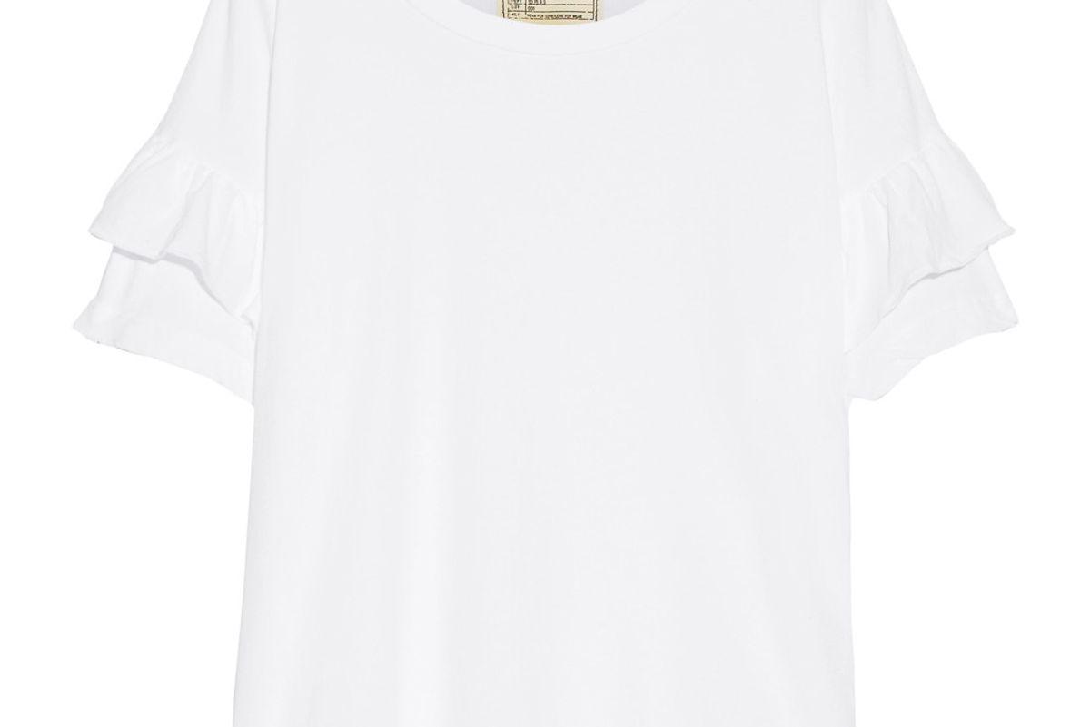 Ruffle Roadie Distressed Cotton-Jersey T-shirt