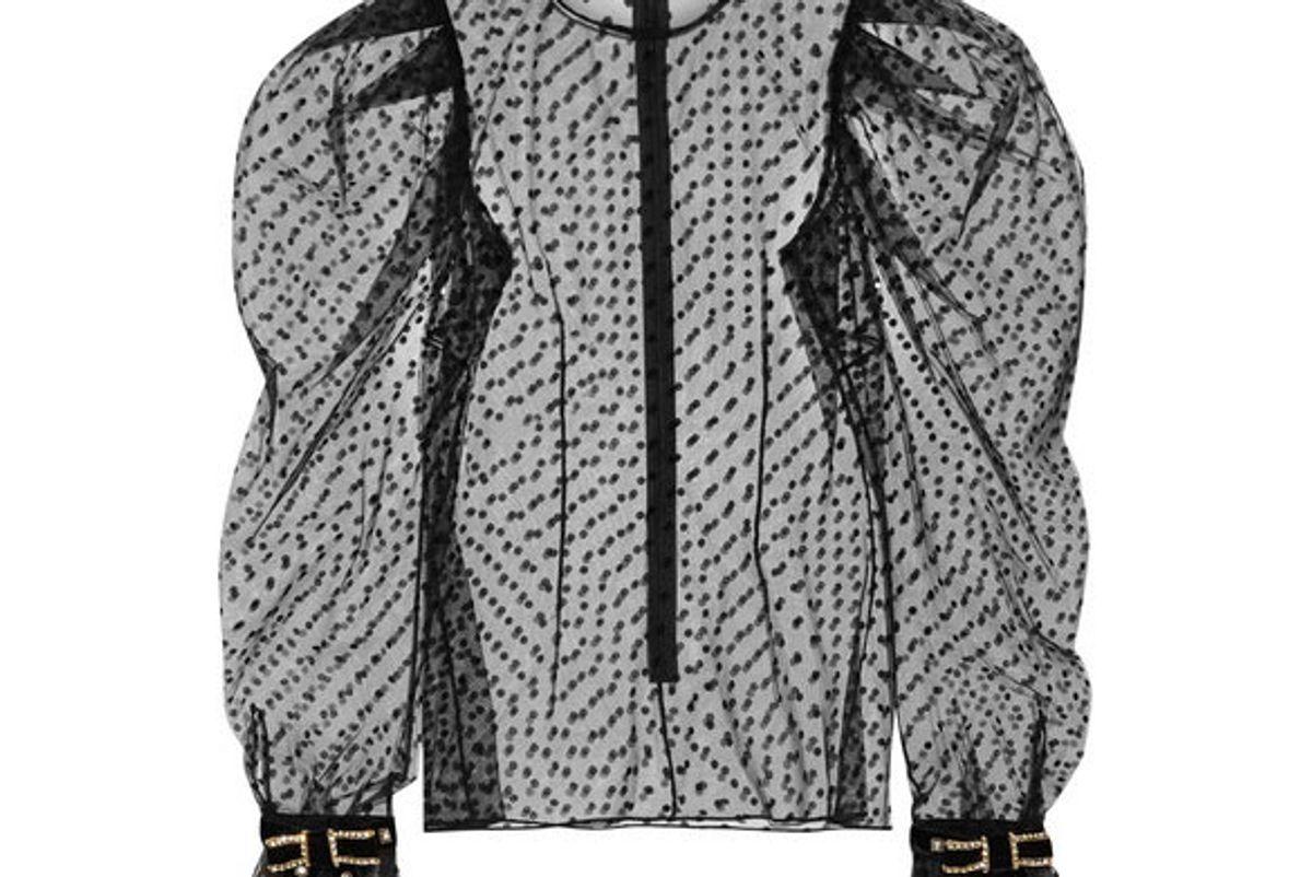 philosophy di lorenzo serafini embellished velvet trimmed polka dot tulle top