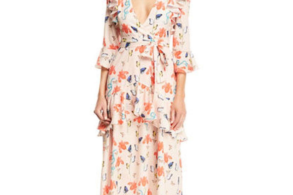 borgo de nor v neck 3 4 sleeve ruffled butterfly and floral print midi dress