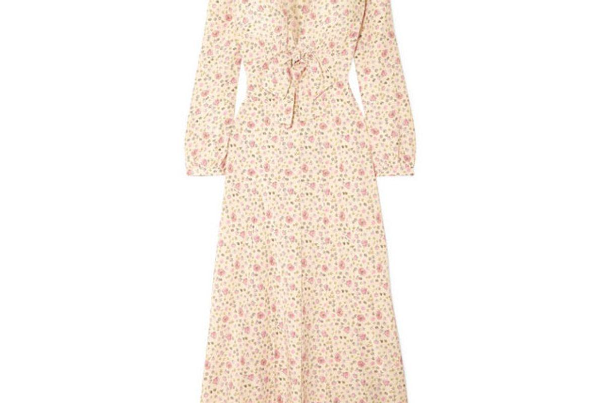 miu miu floral print silk crepe de chine dress