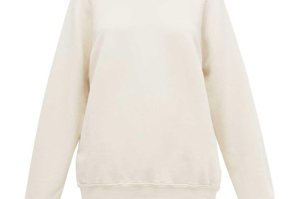 les tien raglan sleeve loop back cotton sweatshirt