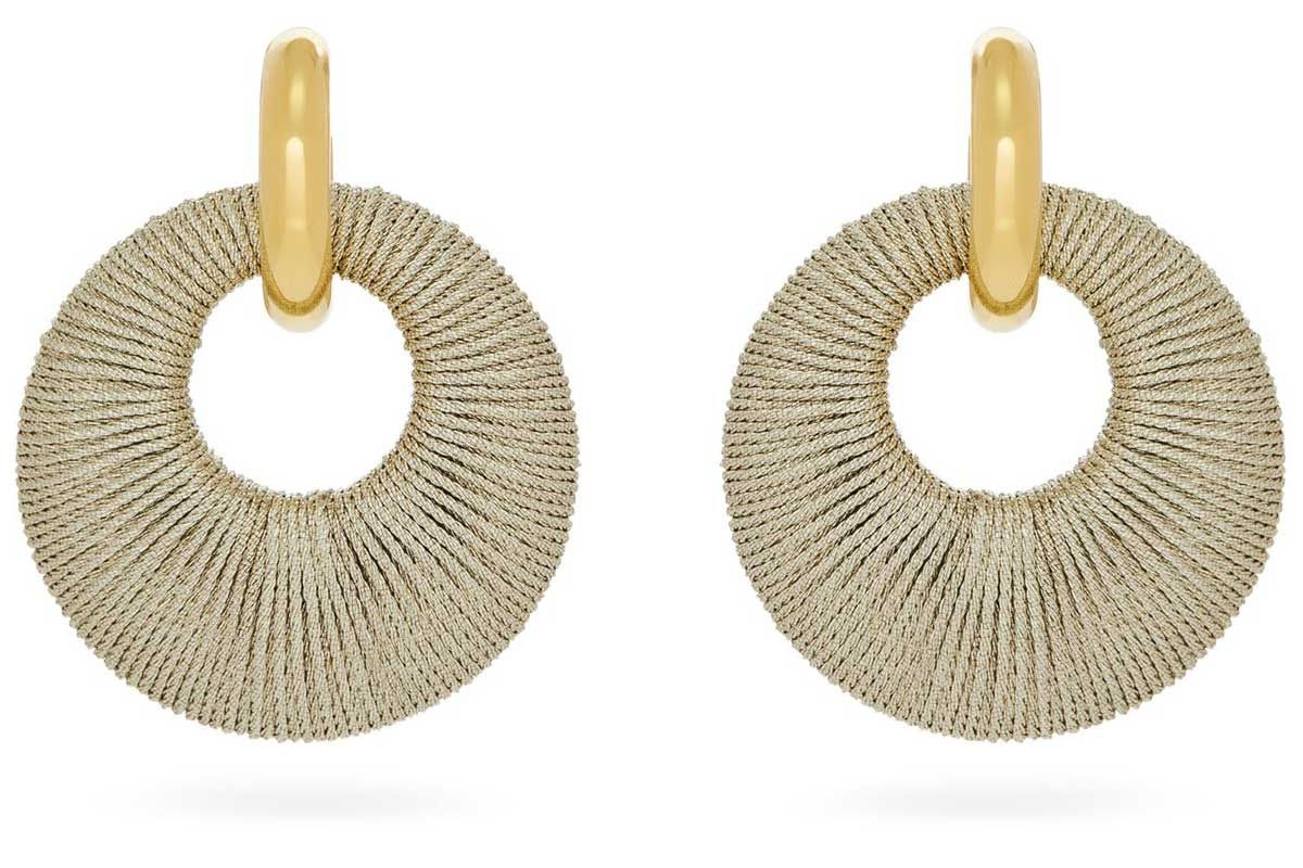 lizzie fortunato orb cord and gold plated hoop earrings