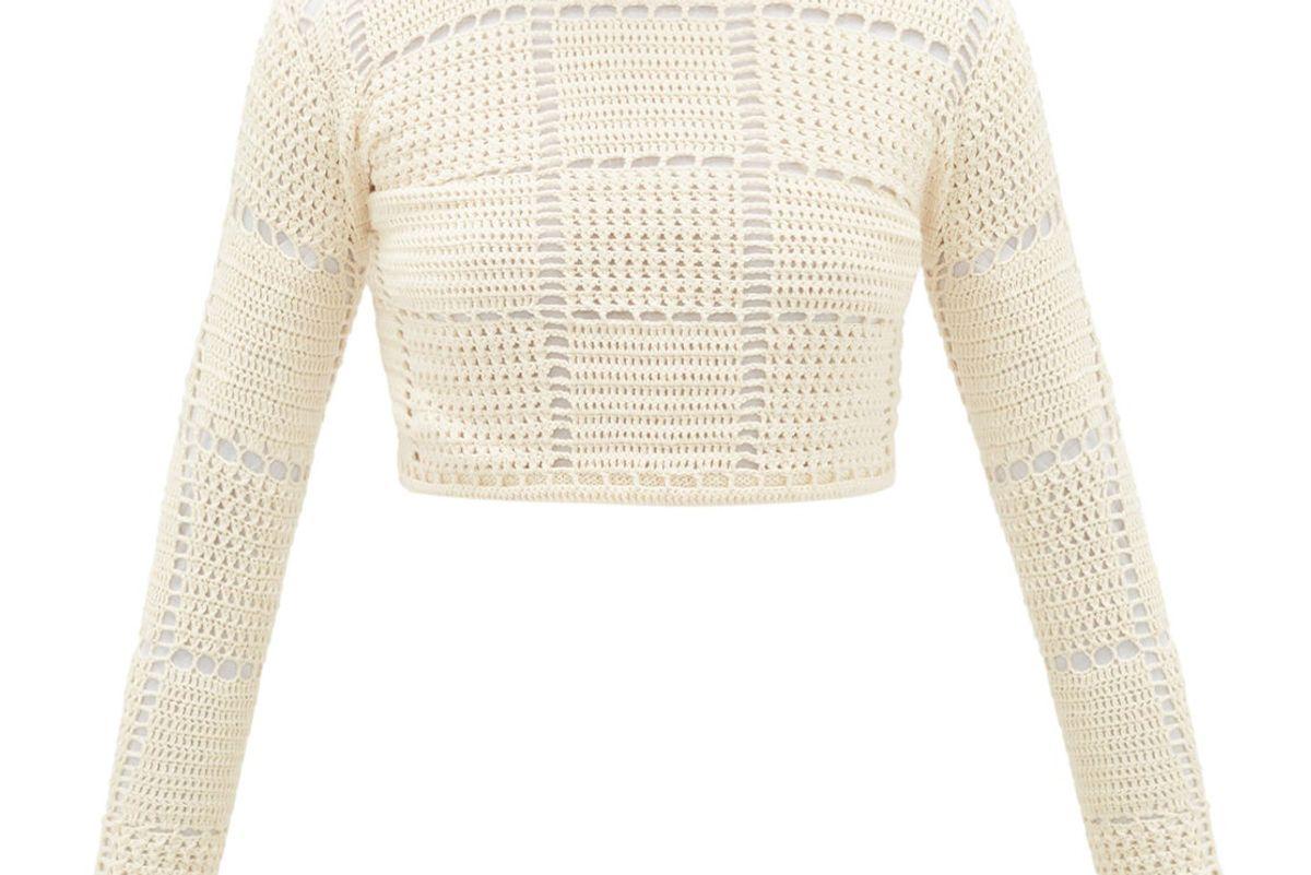 escvdo sacha checked crocheted cotton crop top