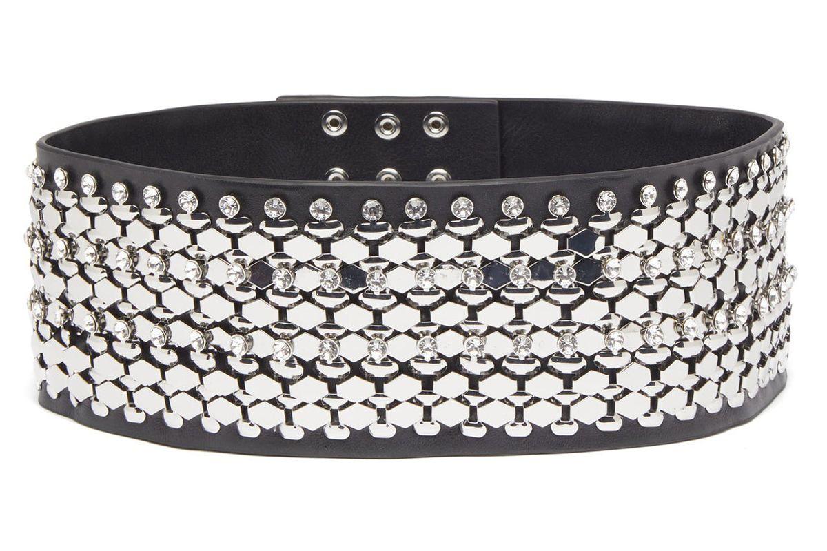 christopher kane crystal embellished leather belt