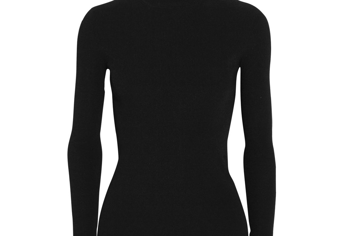 Open-Back Ribbed-Knit Turtleneck Sweater