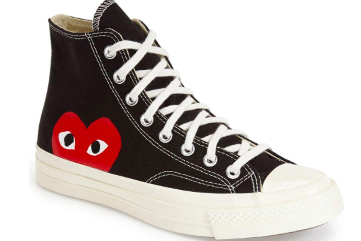 comme des garcons play x converse chuck taylor hidden heart high top sneakers