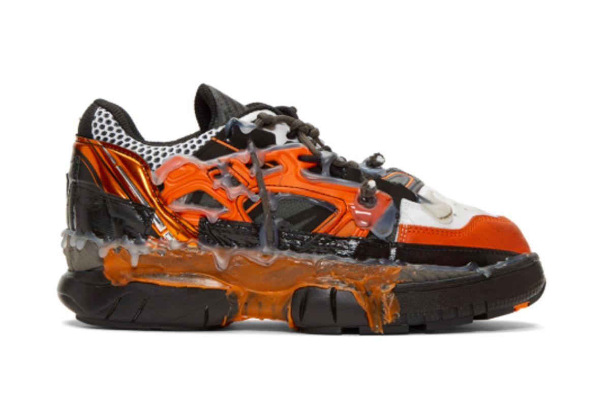 maison margiela orange and black fusion sneakers