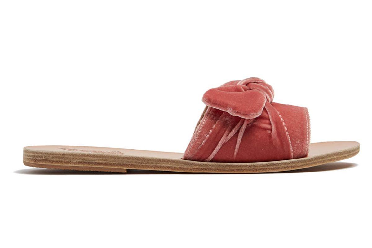 Taygete Bow Velvet Slides