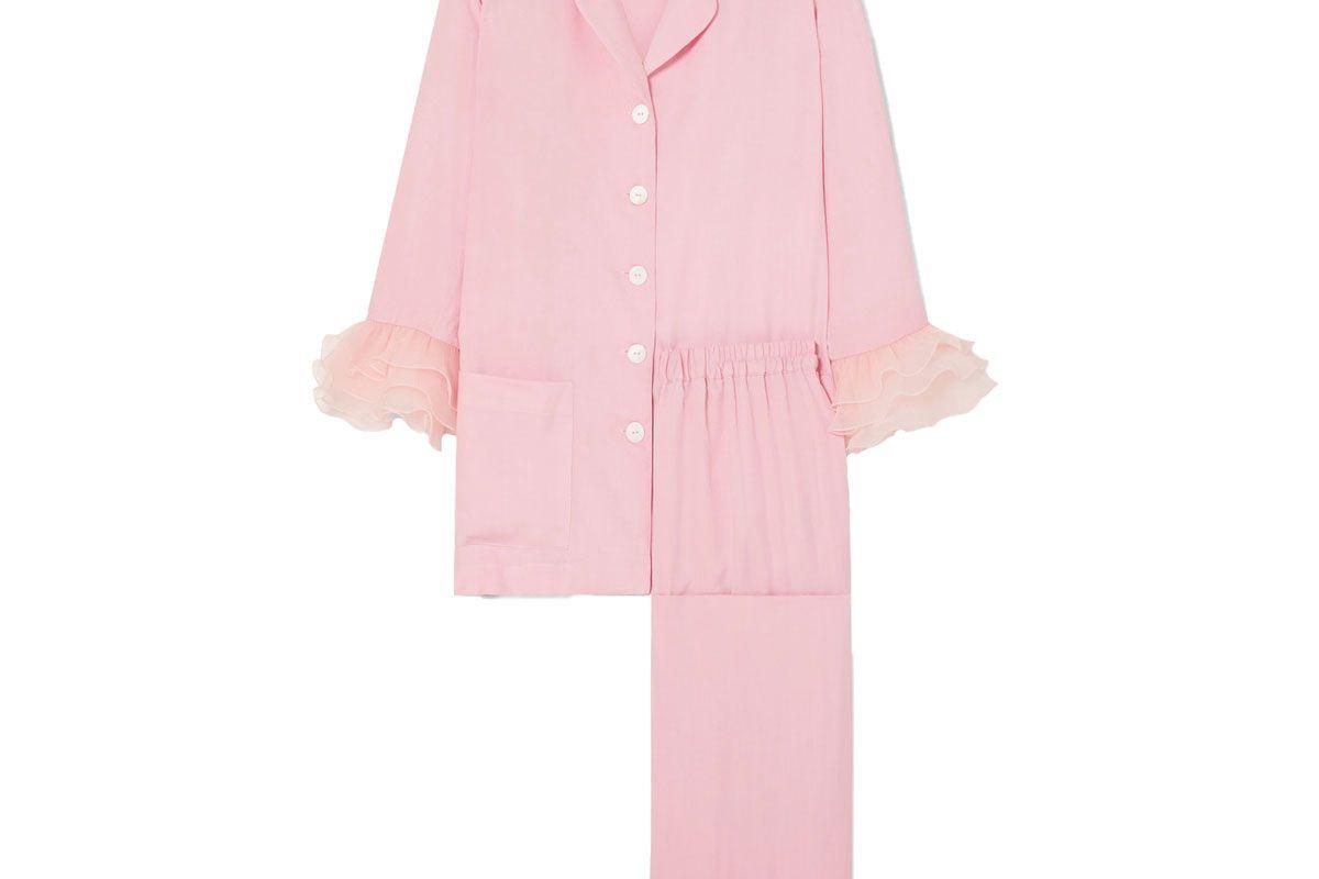 sleeper arlekino ruffled chiffon trimmed crepe de chine pajama set