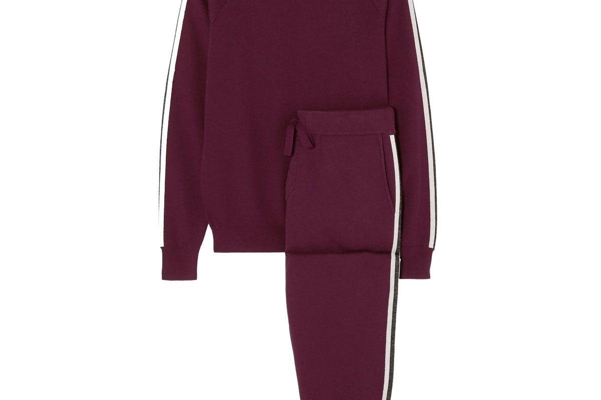 olivia von halle missy bordeaux striped silk and cashmere blend sweatshirt and track pants set