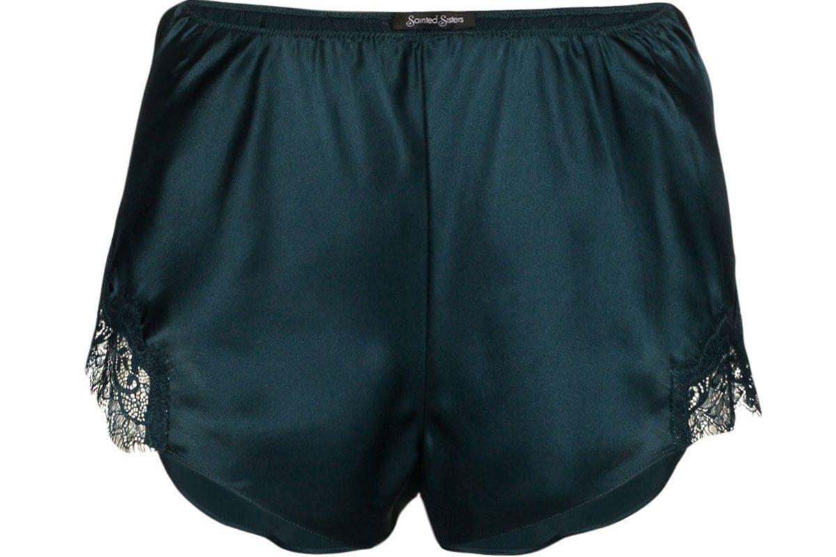 sainted sisters petrol black scarlett classic silk shorts