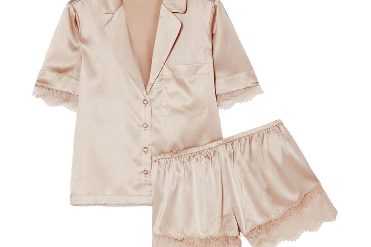 cami nyc sahar lace trimmed stretch silk charmeuse pajama set