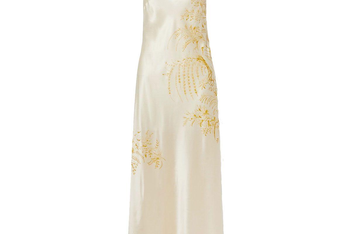 carine gilson lace trimmed printed silk satin nightdress
