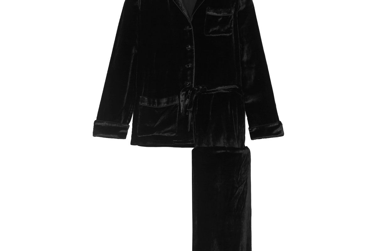 olivia von halle x maleficent coco sequin embellished embroidered velvet pajama set