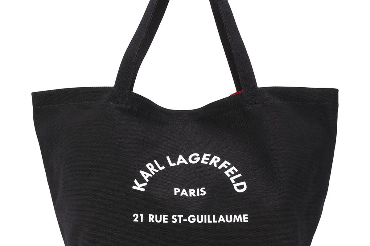 karl lagerfeld k rue st guillaume canvas tote bag