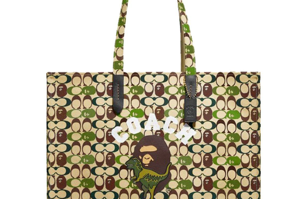 coach x bape tote 47 signature canvas with ape head black copper camo multi