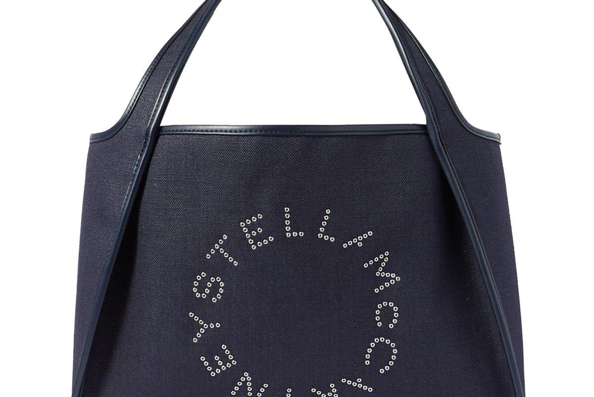 stella mccartney eyelet embellished vegetarian leather trimmed linen canvas tote