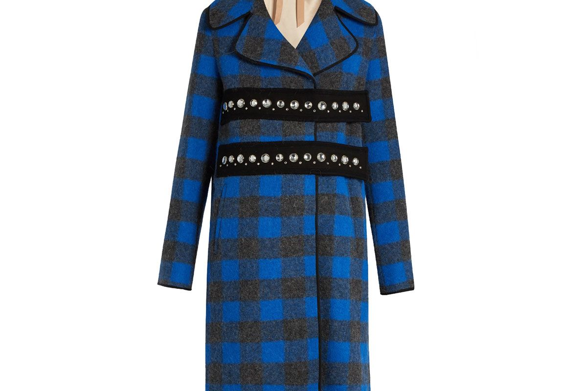 Embellished Wool and Alpaca-Blend Checked Coat