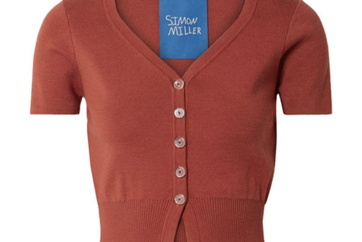 simon miller senoia cropped cotton blend cardigan