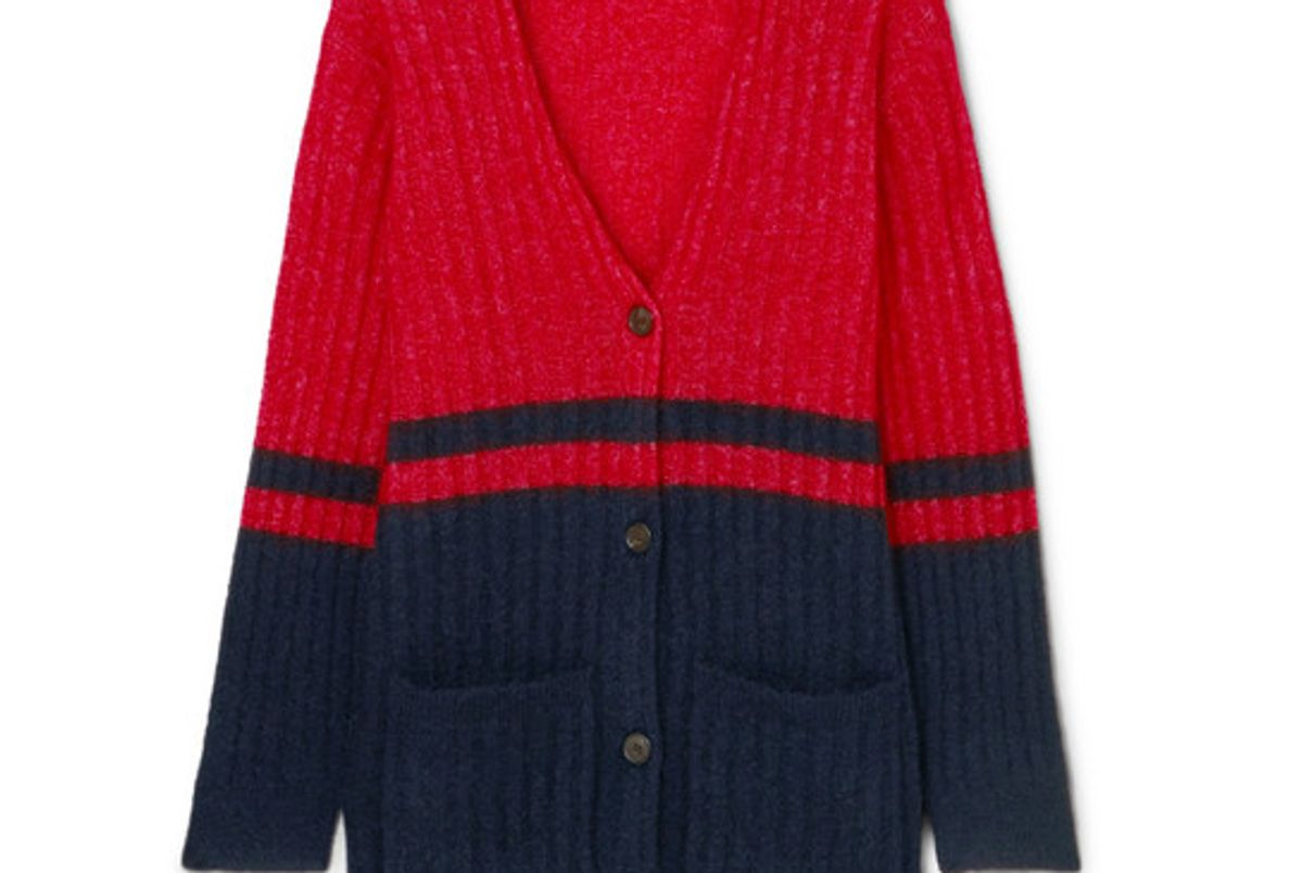 by malene birger two tone ribbed knit cardigan
