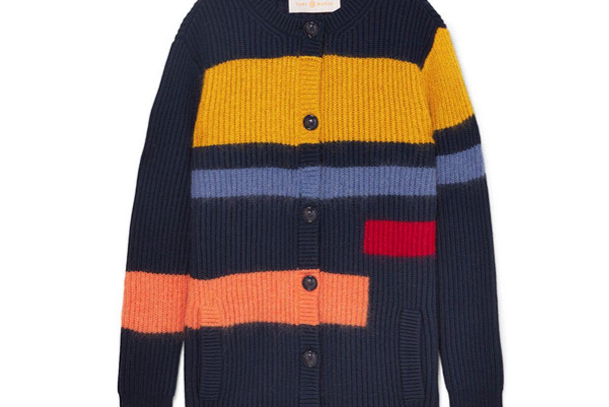 tory burch color block merino wool blend cardigan