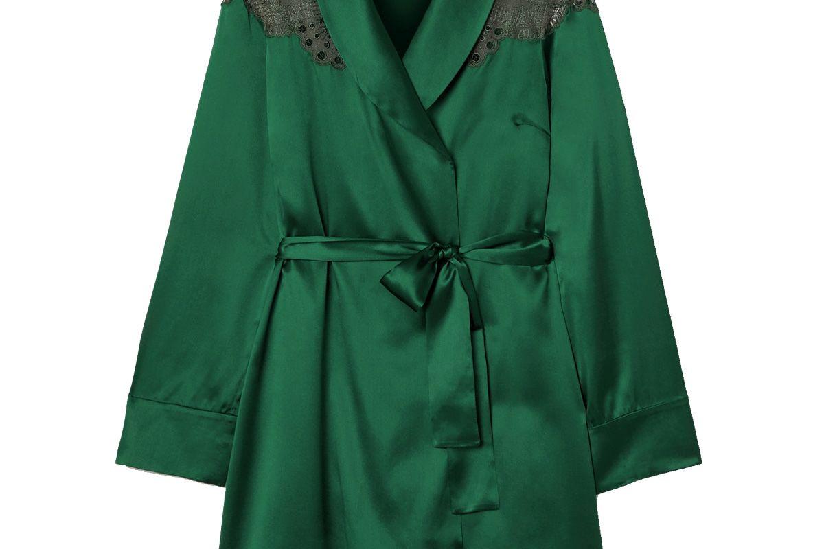 id sarrieri embroidered tulle trimmed silk blend satin robe