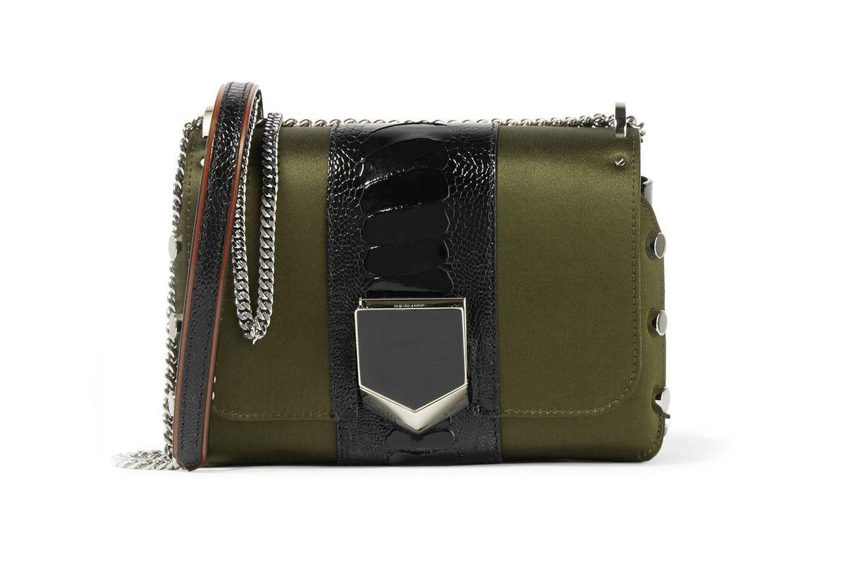 Lockett Petite Patent Leather-Trimmed Satin Shoulder Bag
