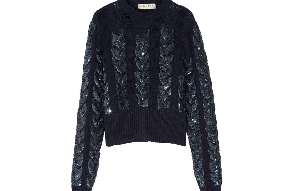 Distressed Sequin-Embellished Cable-Knit Wool Sweater