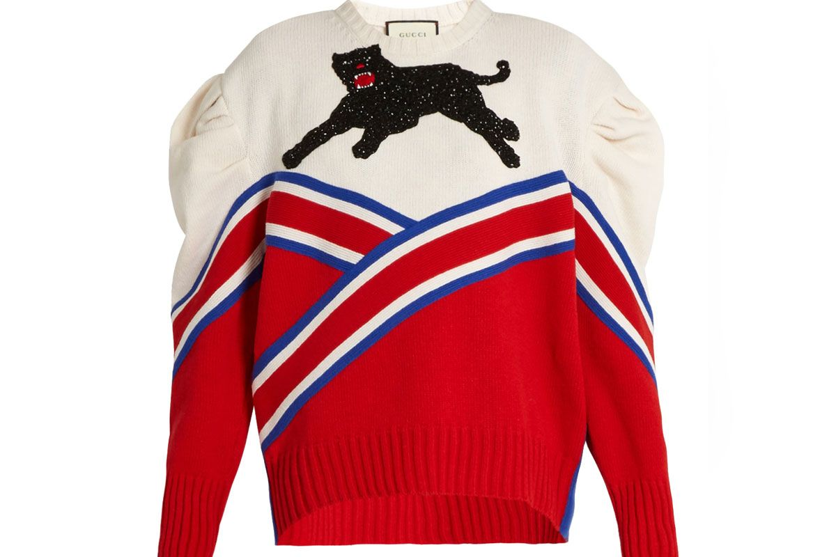 Panther-Appliqué Pleated-Shoulder Wool Sweater