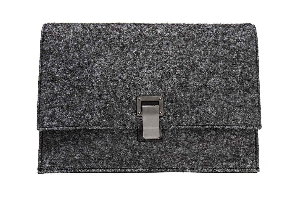 The Lunch Bag Small Felt and Leather Clutch