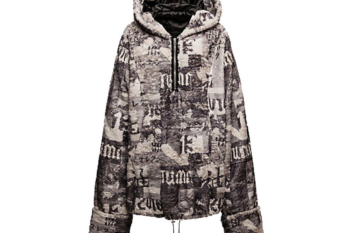 Half-Zip Pullover Printed Faux Fur Hoodie