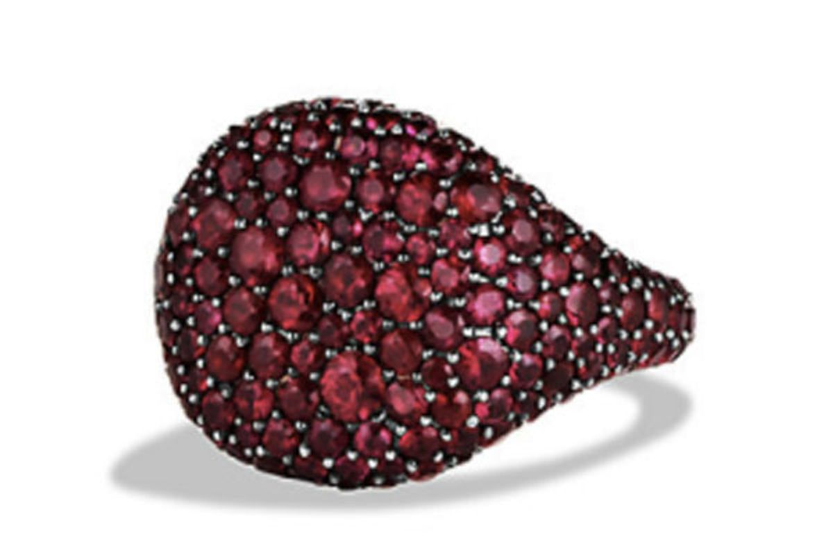 Pavé Pinky Ring with Rubies in 18K White Gold