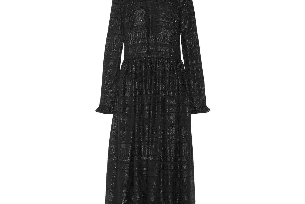 Danielle Ruffle-Trimmed Metallic Fil Coupé Midi Dress