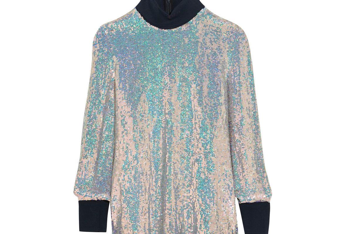 Jersey-Trimmed Sequined Silk Turtleneck Top