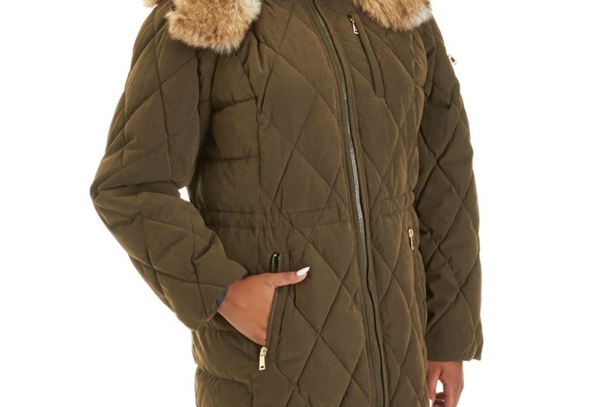 Plus Size Quilted Parka with Detachable Faux Fur Hood