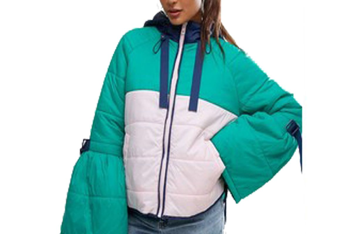 Padded Jacket in Color Block with Straps