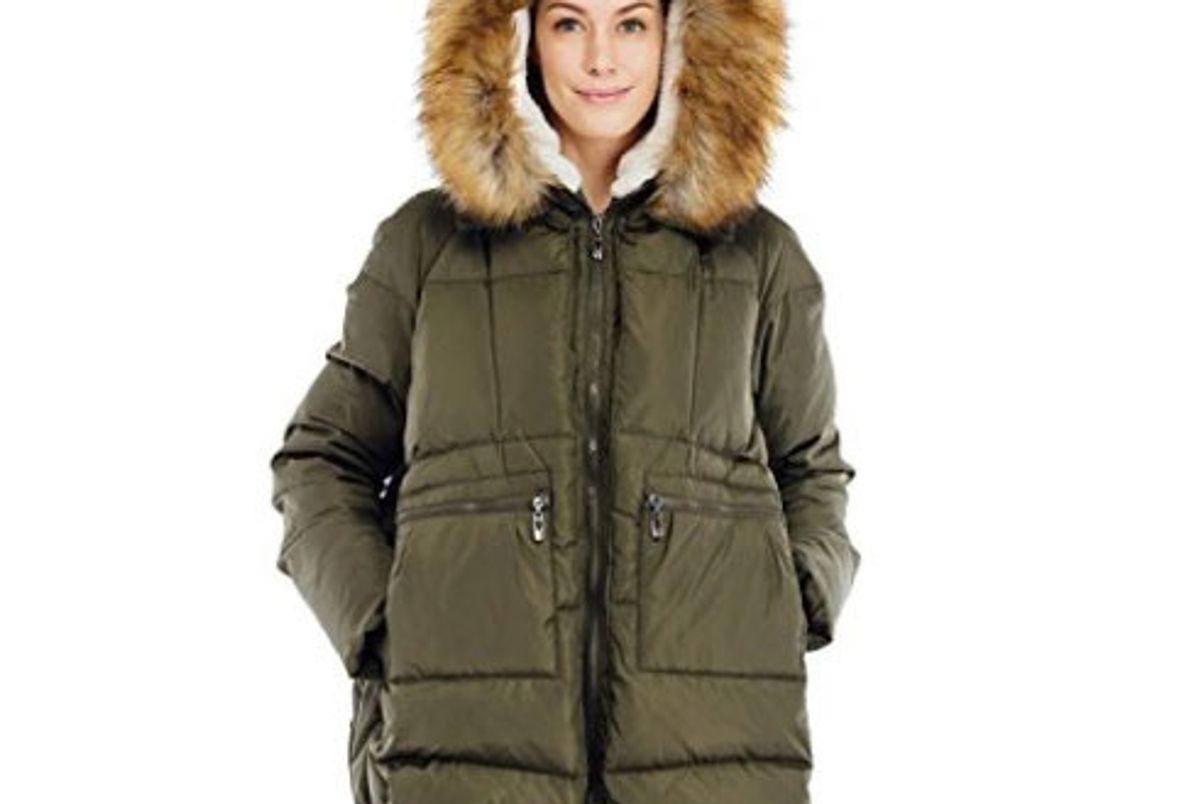 Women's Down Coat With Fur Hood