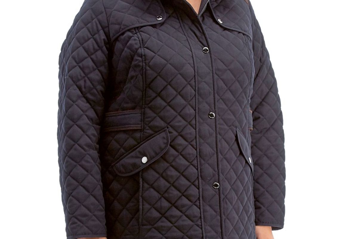 Plus Size Mid-Weight Quilted Coat with Detachable Hood