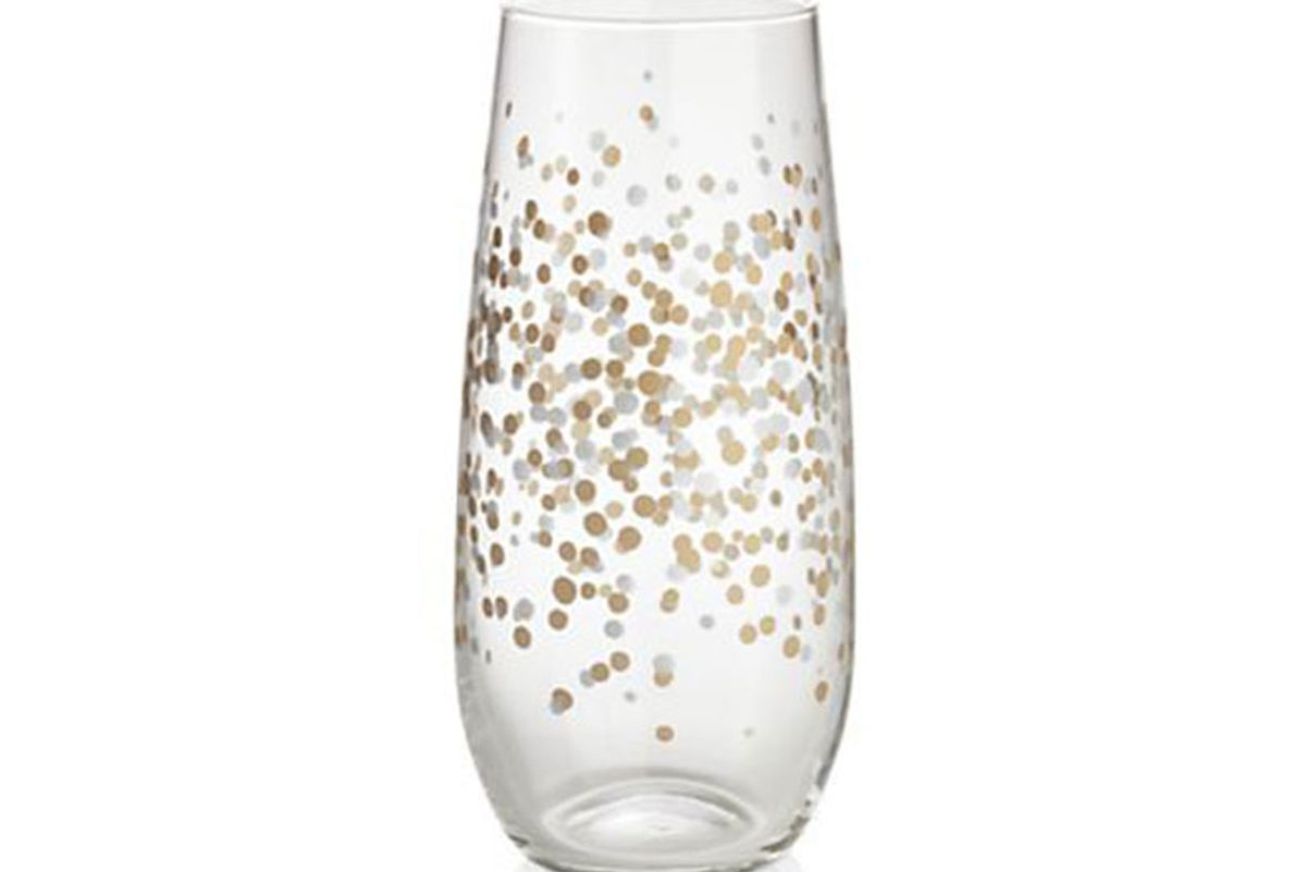 Metallic Dots Stemless Champagne Flute