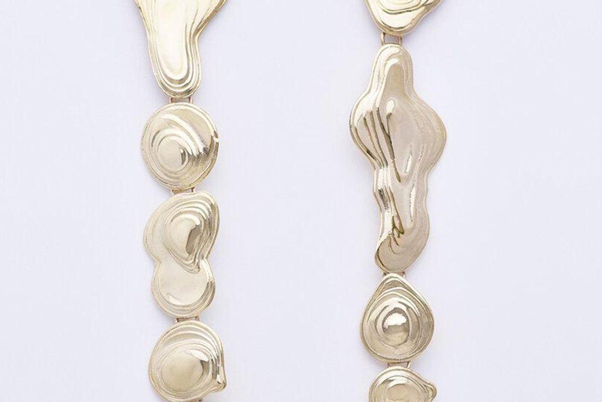 leigh miller brass drip earrings