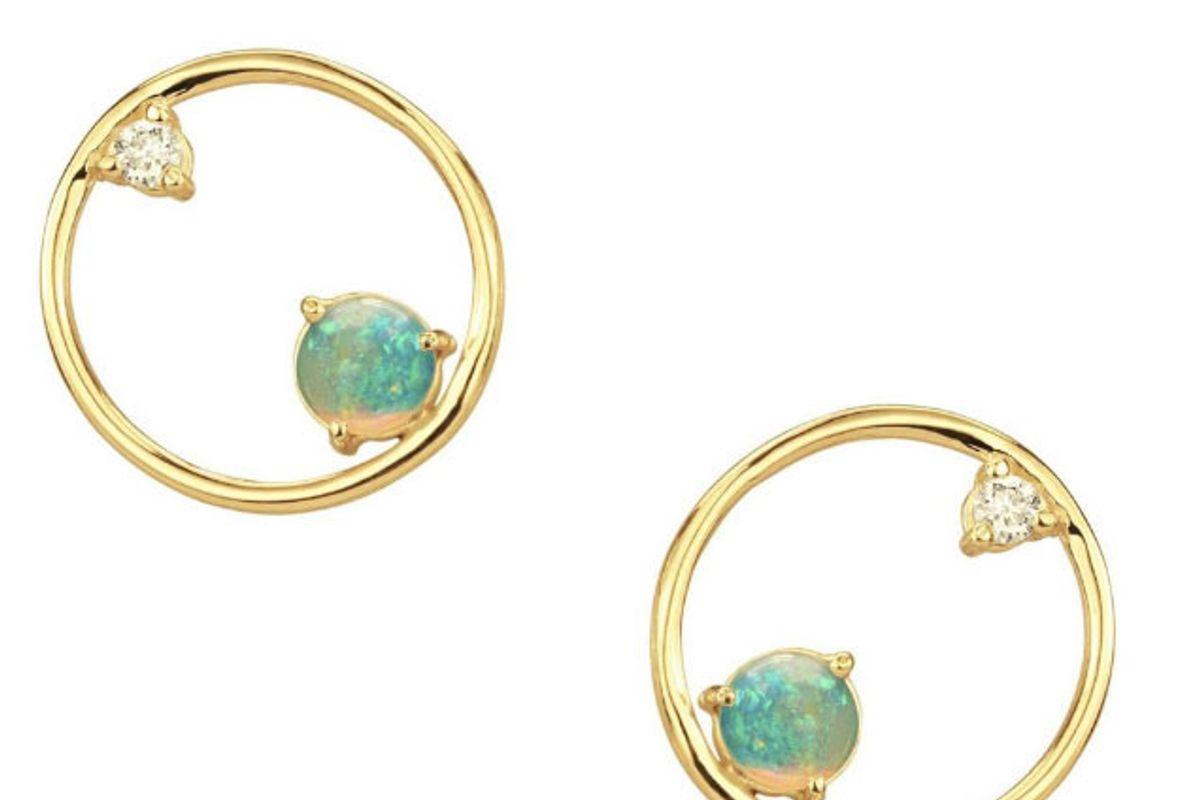 opal and diamond circle earrings