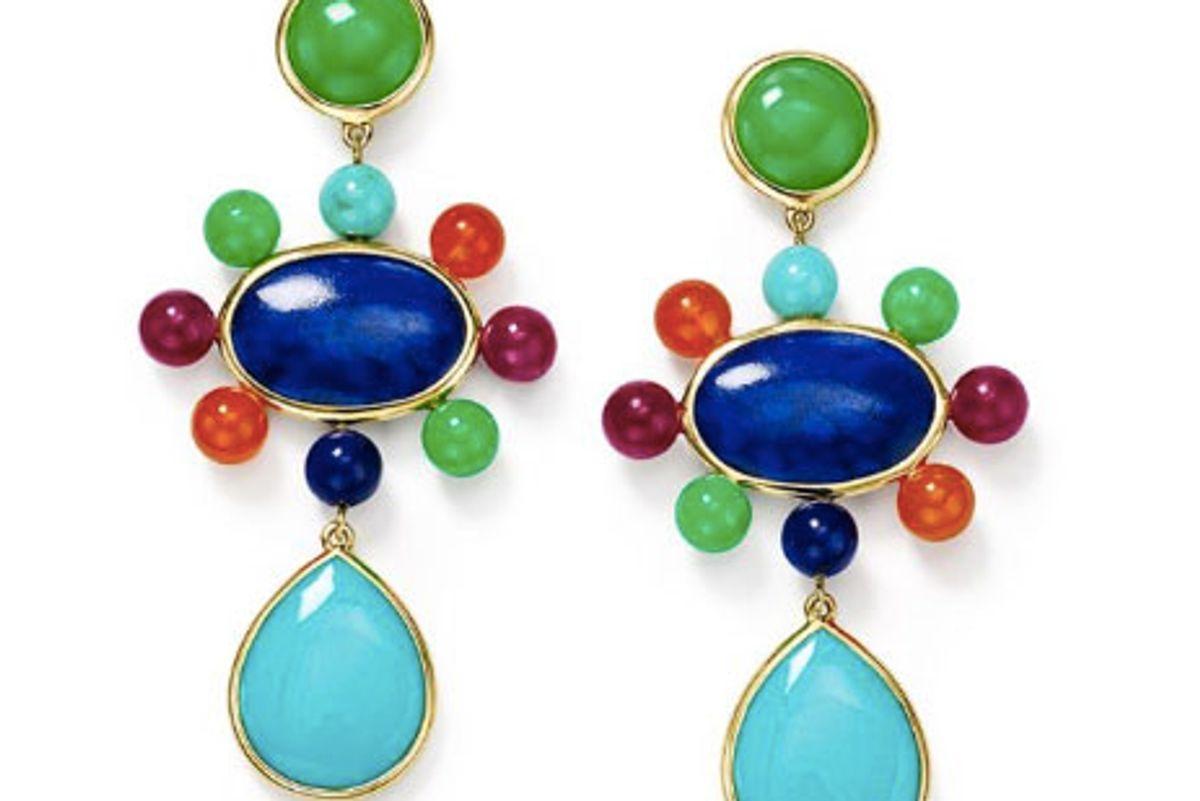 nova post drop earrings with satellite beads in riviera sky in 18k gold